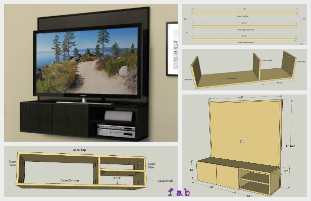 Diy wall mounted media cabinet free plan for Wall hung media cabinet