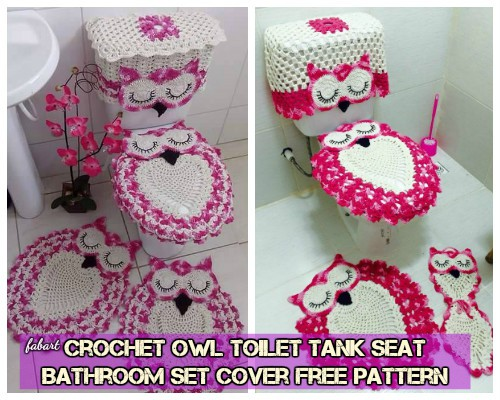 DIY Crochet Owl Toilet Tank Seat Bathroom Set Cover Free Pattern Video