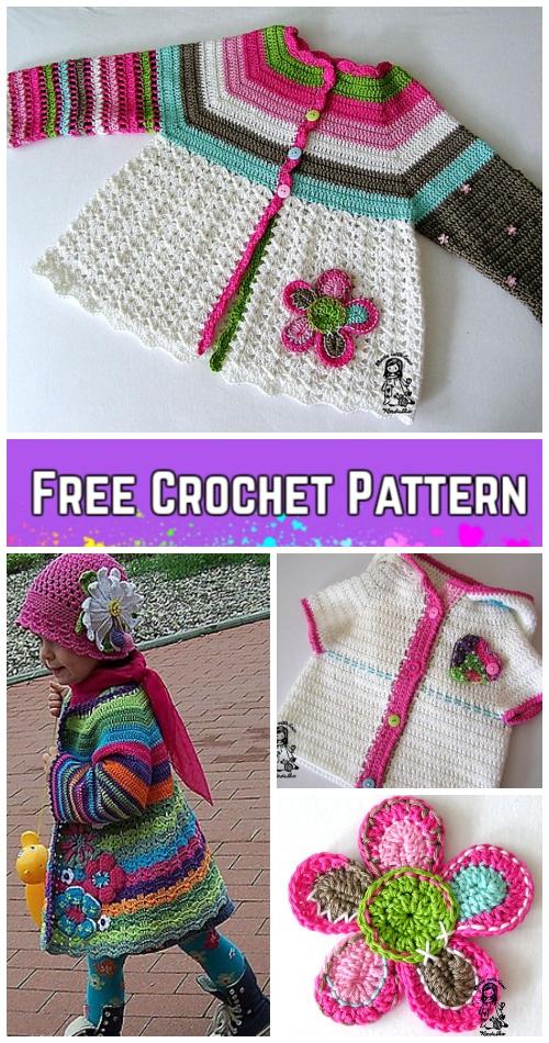 Crochet Girls Flower Cardigan Free Patterns