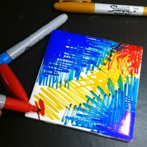 DIY Abstract Sharpie Coaster Tutorial
