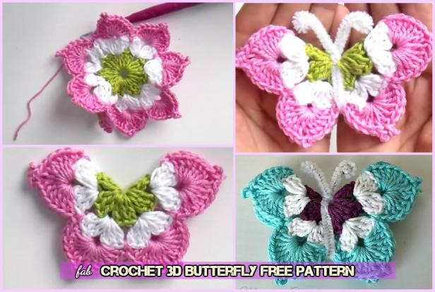 3D Crochet Butterfly Free Pattern-Video - DIY Magazine