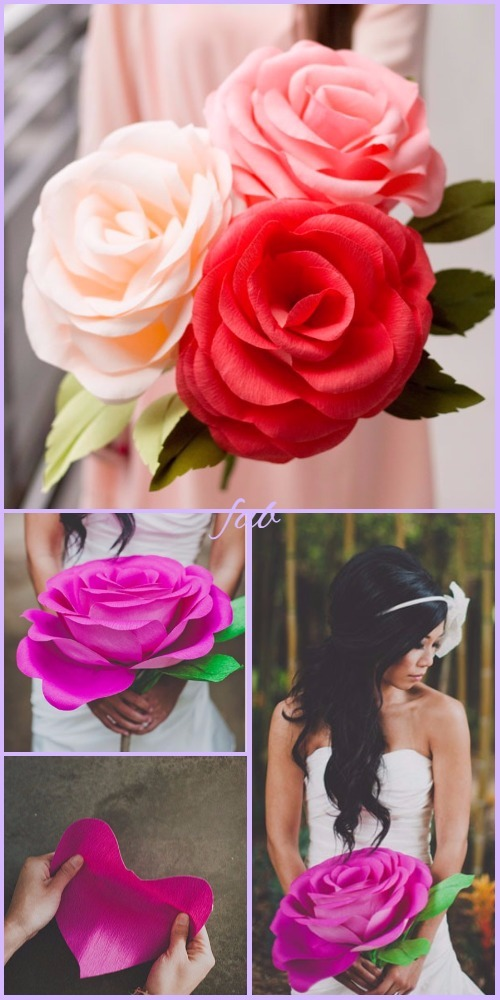 Diy crepe paper rose tutorial wedding flower bouquet diy giant crepe paper rose tutorial video mightylinksfo
