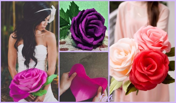 Diy crepe paper rose tutorial wedding flower bouquet mightylinksfo