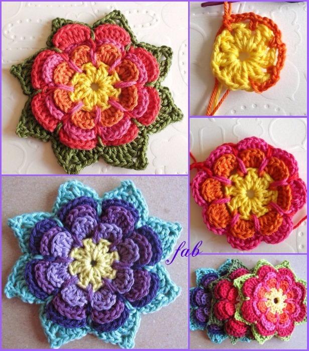 Crochet 3d Layered Flower Free Pattern