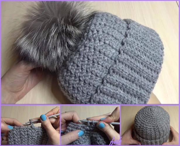 Crochet Women Pom Pom Hat Free Pattern Video