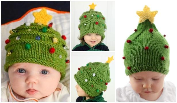Knit Christmas Tree Hat Free Patterns