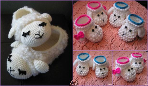 Crochet Sheep Slipper Booties Free Patterns Video