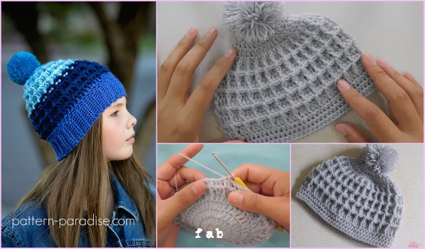 Crochet Waffle Stitch Beanie Hat Free Patterns Video