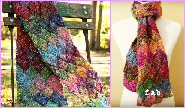 Knit Entrelac Scarf Free Pattern With Video Tutorial