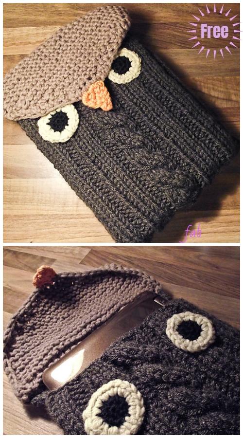 Knit Owl Notebook Sleeve Free Pattern