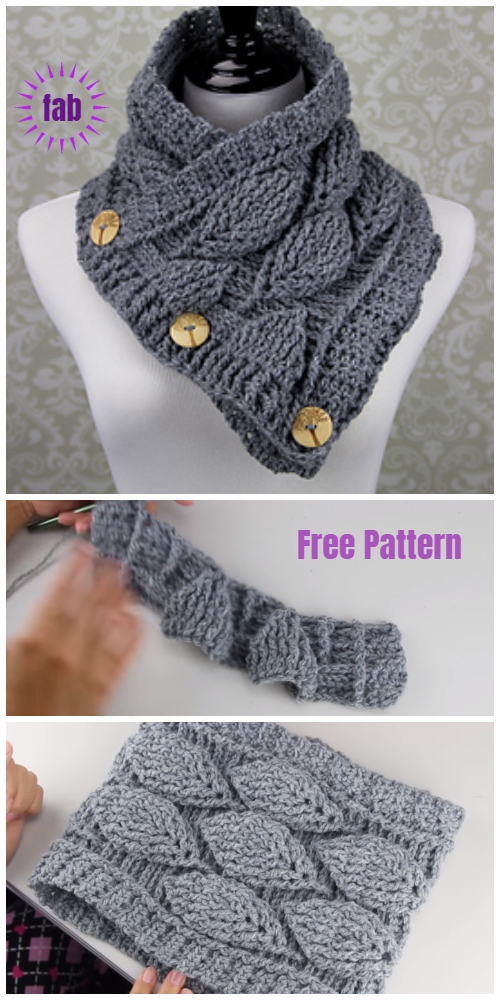 Crochet Autumn Leaf Cowl Free Patterns Video Tutorials