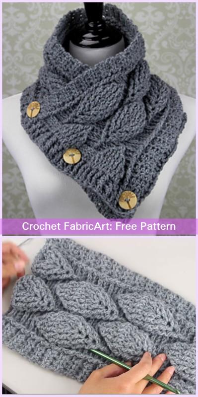 Crochet Autumn Leaf Cowl Free Patterns-Video Tutorials