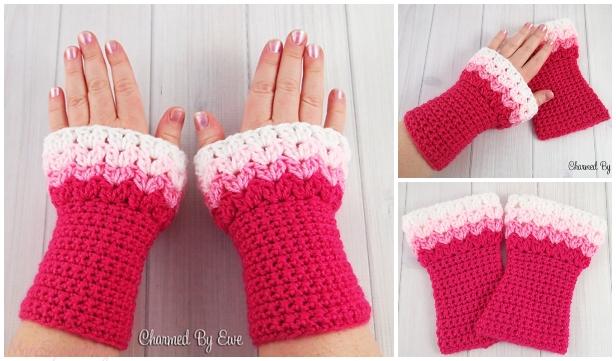 Crochet Sweetheart Wrist Warmers Free Pattern