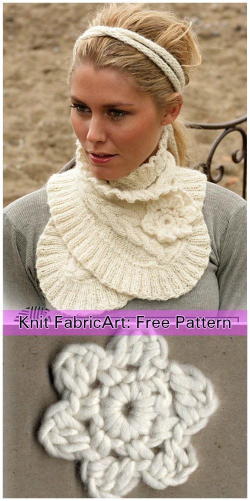 Cable Knit Scarf Neck Warmer With Flower Headband Free Pattern