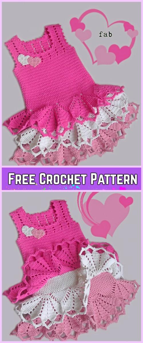 Crochet Girl Ruffle Dress Free Patterns