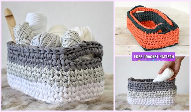 Crochet Rectangle Basket Free Patterns