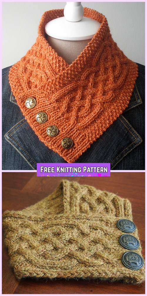 Knit Celtic Cable Neckwarmer Scarf Free Knitting Pattern