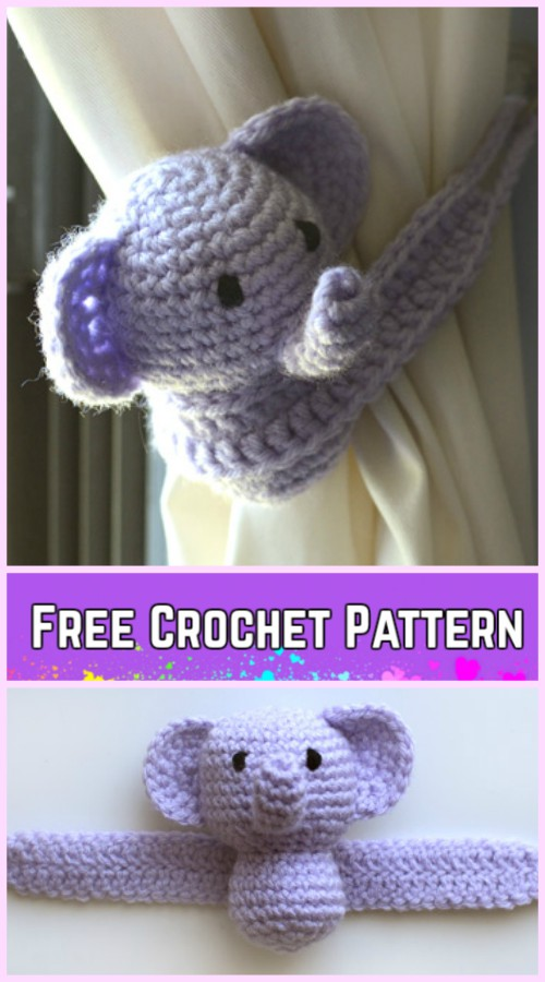 Crochet Elephant Plush Toy Amigurumi Free Patterns Crochet Little Elephant Curtain Tie Back Free