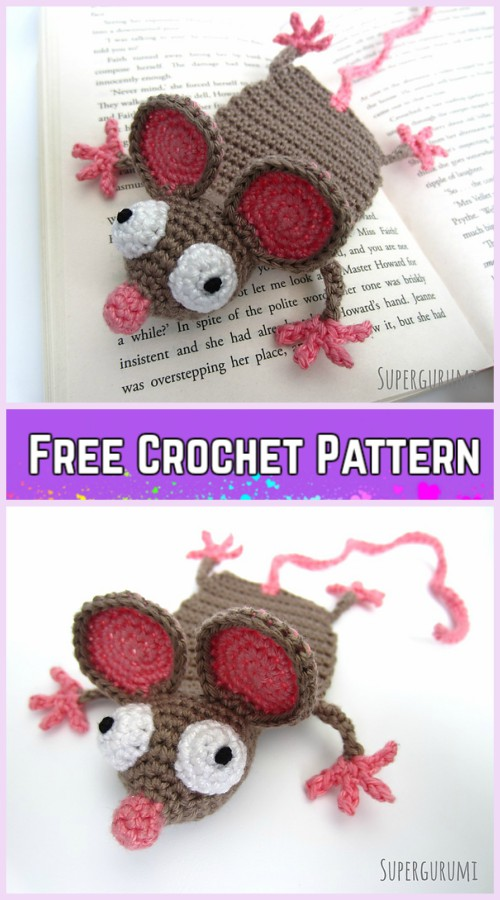 Crochet Mouse Bookmark Amigurumi Free Patterns