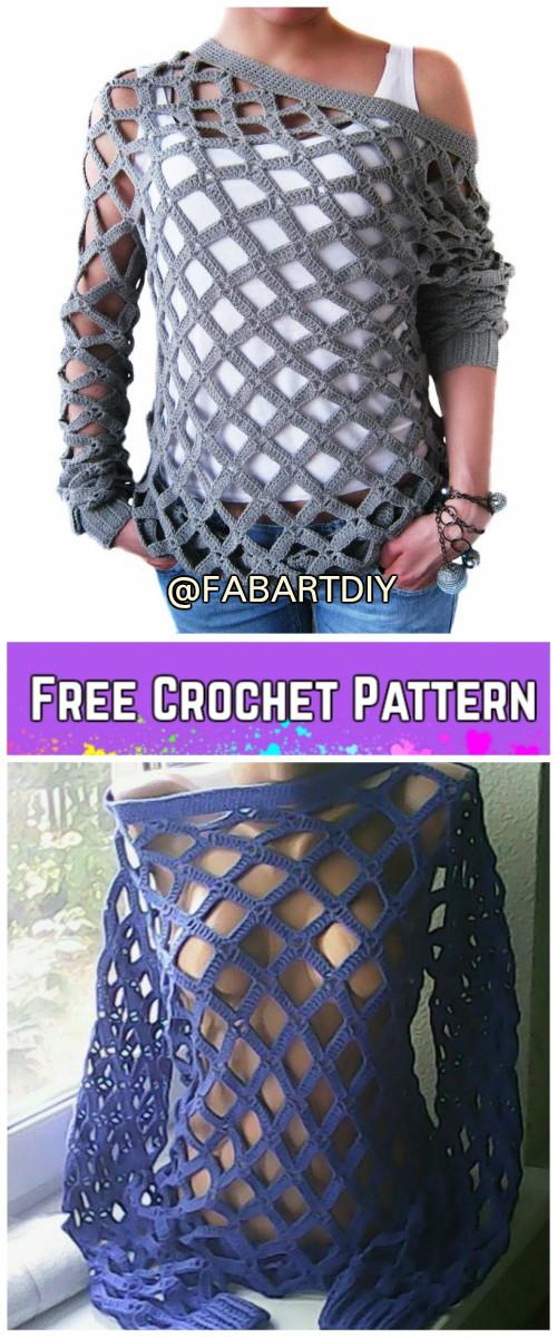 Crochet Off Shoulder Net Spring Sweater Free Pattern Video