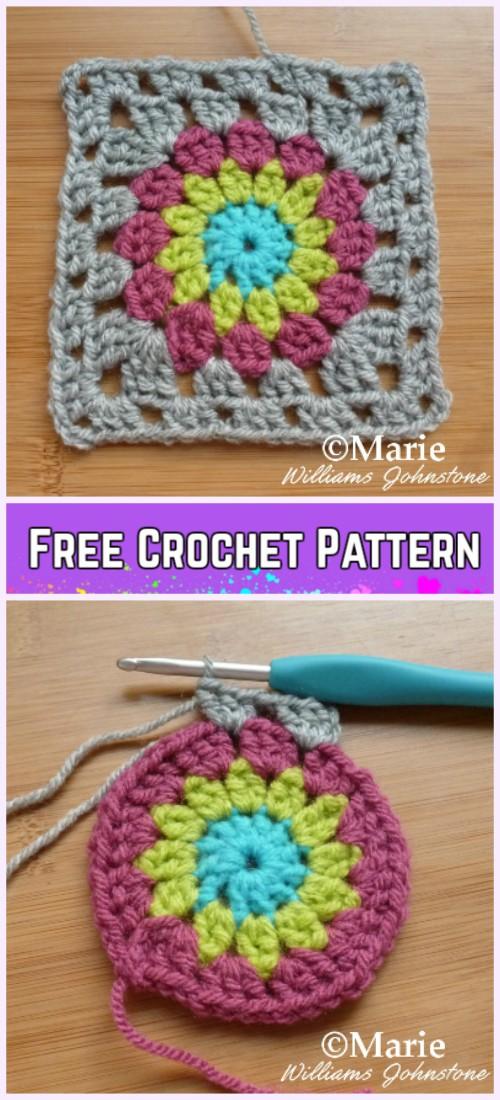 Crochet Sunburst Granny Square Free Pattern Diy Magazine