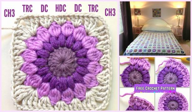 Fabartdiy Crochet Sunburst Granny Square Free Pattern Ft Diy Magazine