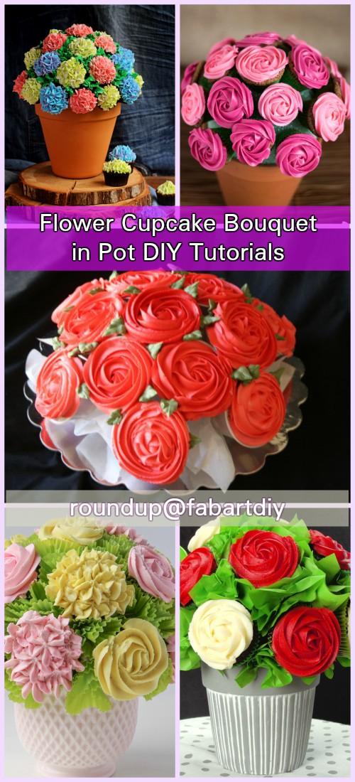 DIY Flower Cupcake Bouquet in Pot Tutorials - DIY Magazine