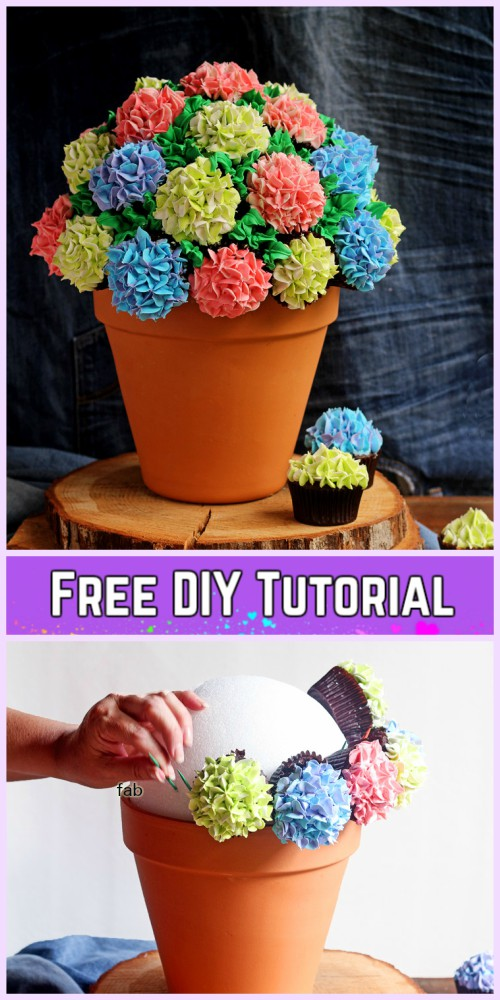 Diy Flower Cupcake Bouquet In Pot Tutorials Diy Cupcake