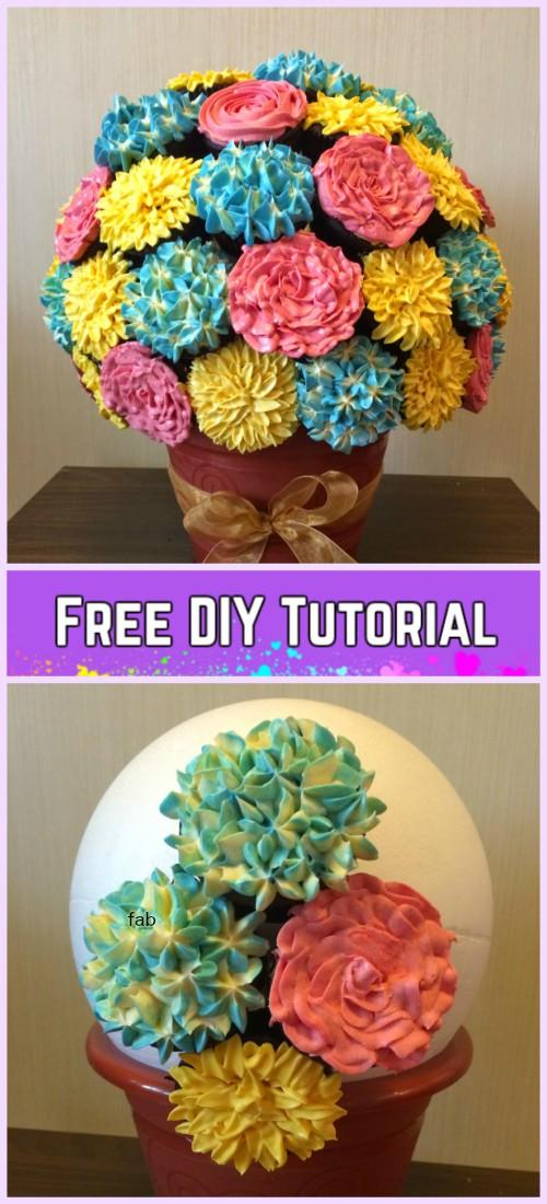 DIY Flower Cupcake Bouquet in Pot Tutorials- DIY Hydrangeas ...