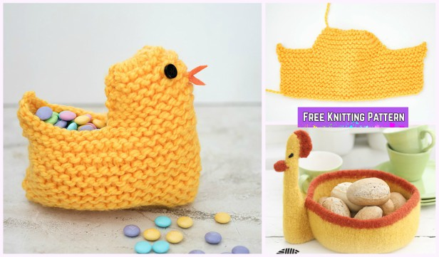 Knit Easter Chick Basket Free Knitting Patterns