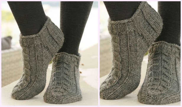 Knit Short Cable Socks Free Knitting Pattern