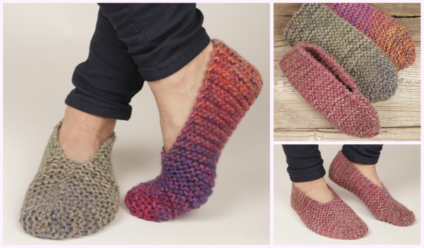 Knit Side Step Garter Stitch Slippers Free Knitting Pattern
