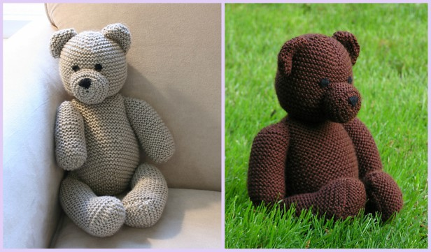 Knit Teddy Bear Plush Toy Free Knitting Patterns