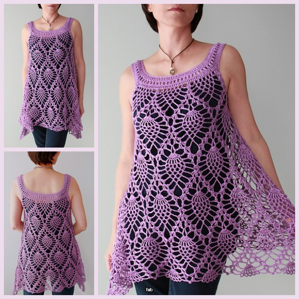 Crochet Pineapple Stitch Sleeveless Top Crochet Pattern For Ladies