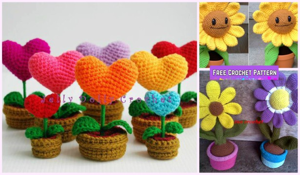 Crochet 3d Flower In Pot Amigurumi Free Crochet Pattern