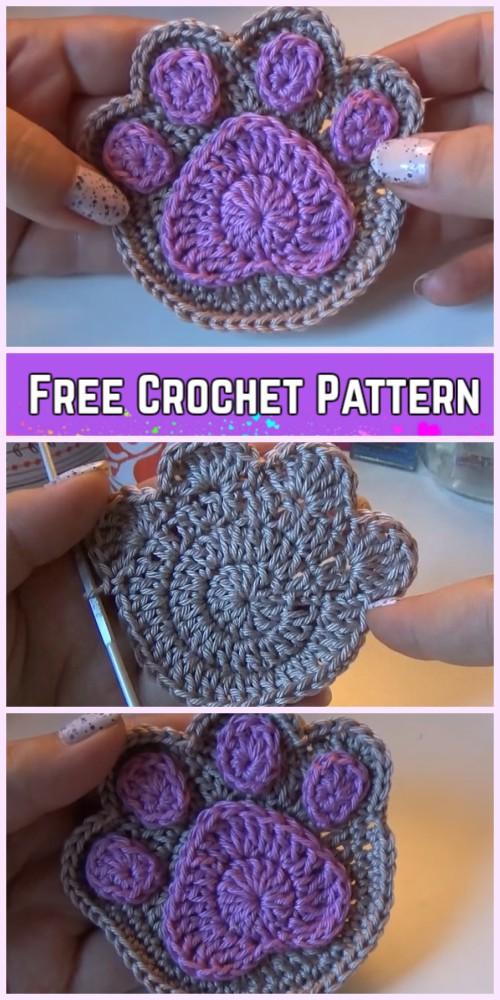 Crochet Paw Print Applique Free Pattern Video
