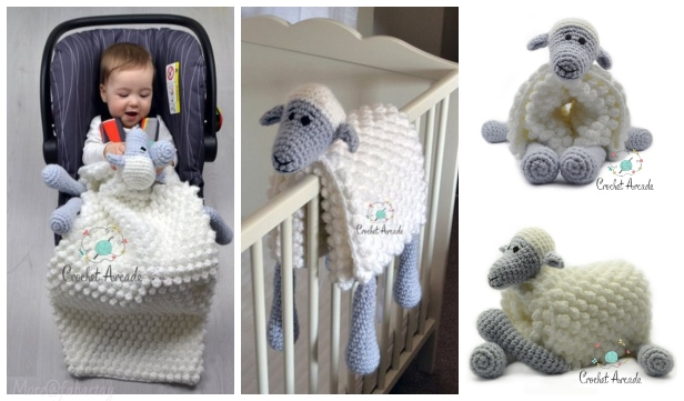 Cuddle And Play Sheep Blanket Crochet Pattern