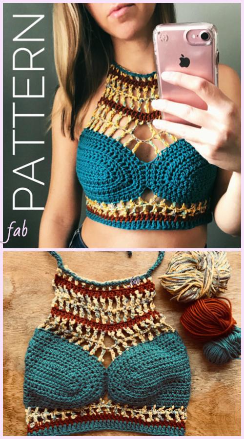 Chic Crop Top Bralette Crochet Pattern For Ladies Summer Wear