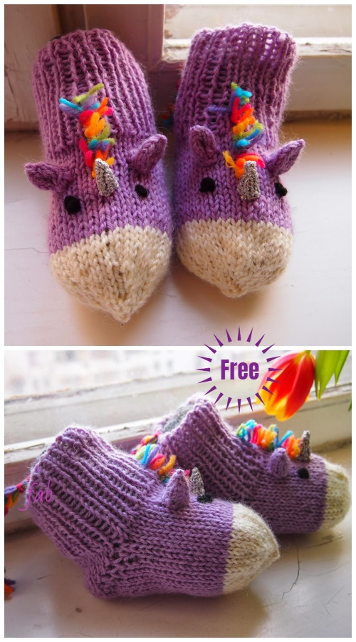 Knit Unicorn Socks Slippers Free Knitting Pattern