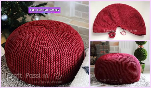 Garter Stitch Knit Pouf Free Knitting Pattern Diy Magazine