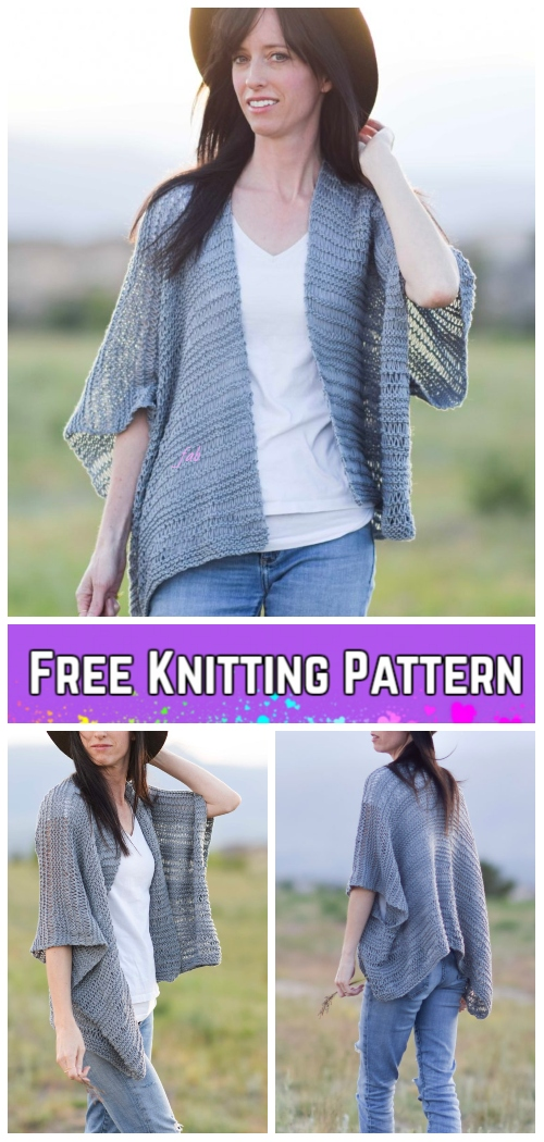 Knit Drop Stitch Kimono Cardigan Free Knitting Pattern