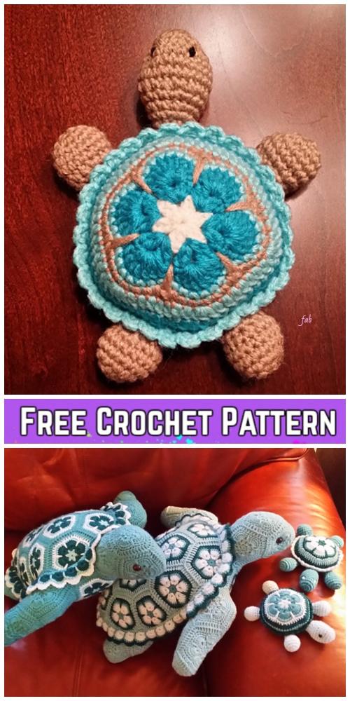 Crochet African Flower Turtle Free Crochet Patterns