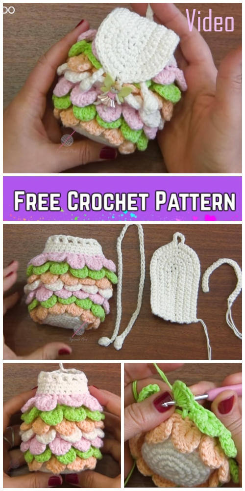 Crochet Crocodile Stitch Mini Backpack Free Crochet Pattern Video