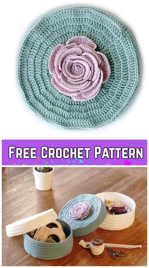 Crochet Romantic Rose Jewelry Box Free Crochet Pattern
