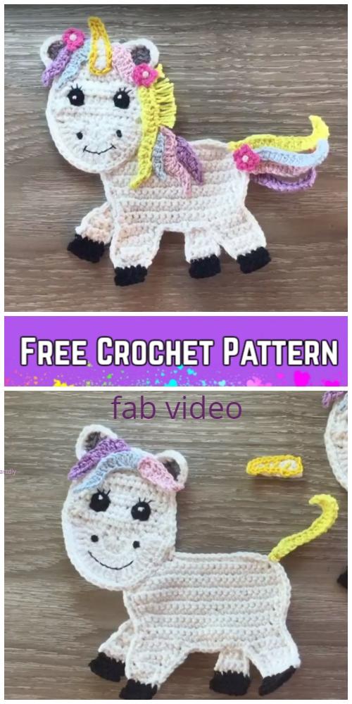 Unicorn Applique Crochet Patterns Free Paid