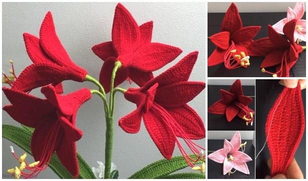 Crochet Amaryllis Flower Bouquet Crochet Free Pattern - Video