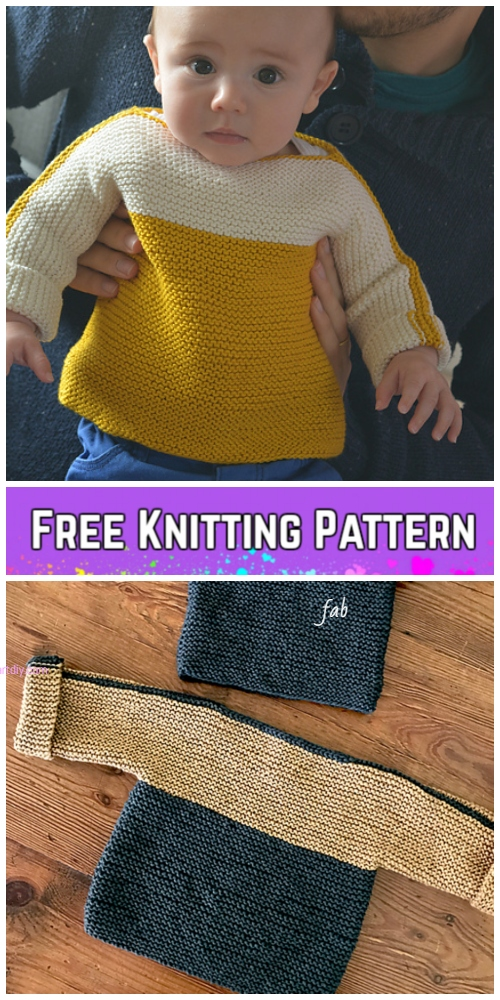 Knit Easy Garter Stitch French Macaroon Baby Sweater Pullover Free
