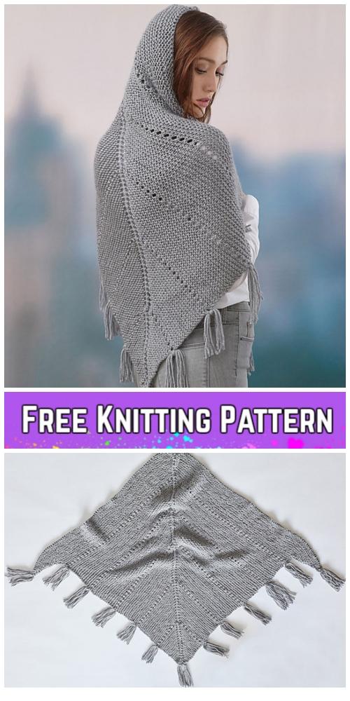 Knit Hoodie Shawl Free Knitting Pattern for Ladies - DIY Magazine
