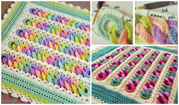 Crochet Interlocking Rainbow Ring Baby Blanket Free
