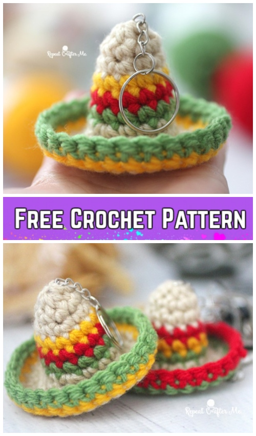 Sombrero Hat Keychain Crochet Patterns Free Paid